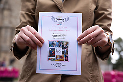© Licensed to London News Pictures . 14/09/2018. Salford, UK. A woman holds a copy of the order of service outside the church . The funerals of Demi Pearson , Brandon Pearson , Lacie Pearson and Lia Pearson , at St Paul's Church in Walkden . Demi , Brandon , Lacie and Lia were aged 15 , eight , seven and three respectively when their home was set on fire as they slept . Zak Bolland and David Worrall were handed four life sentences for their murders . Photo credit: Joel Goodman/LNP