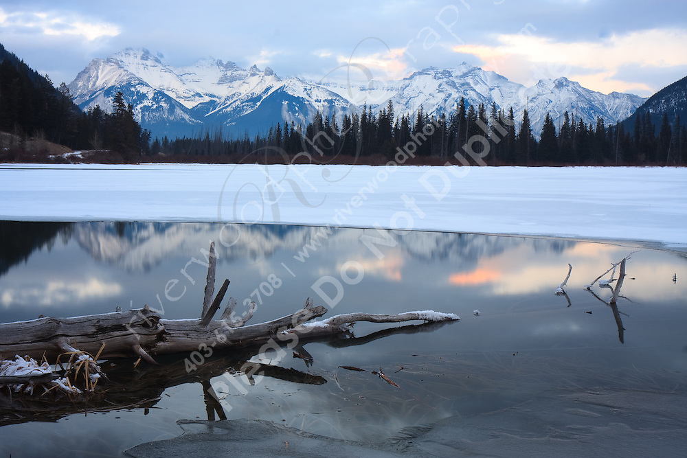 Mountains reflected in the icy pools of Vermillion Lakes at sunset...©2009, Sean Phillips.http://www.Sean-Phillips.com