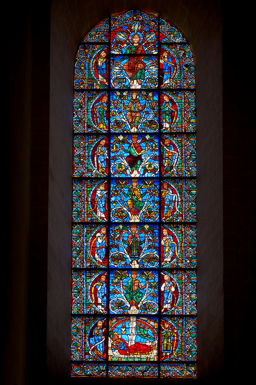 Medieval stained glass Window of the Gothic Cathedral of Chartres, France - dedicated to The Tree of Jesse (12th century). A UNESCO World Heritage Site. .<br /> <br /> Visit our MEDIEVAL ART PHOTO COLLECTIONS for more   photos  to download or buy as prints https://funkystock.photoshelter.com/gallery-collection/Medieval-Middle-Ages-Art-Artefacts-Antiquities-Pictures-Images-of/C0000YpKXiAHnG2k