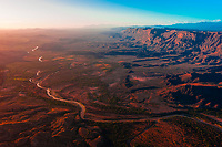 Aerial view from Big Bend National Park, Texas USA across the Rio Grande River to the Santa Elena Escarpment in Mexico. Mexico is on the right side of the river.