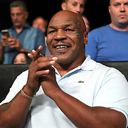VERONA, NY - JUNE 08: Former World Champion boxer Mike Tyson claps as the 2018 Hall of Fame class is introduced during the Golden Boy on ESPN fight night at Turning Stone Resort Casino on June 8, 2018 in Verona, New York. (Photo by Alex Menendez/Getty Images) *** Local Caption *** Mike Tyson