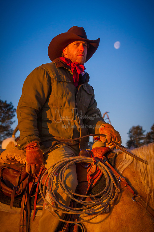 Cowboy on his horse on a ranch in northeastern Wyoming
