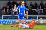 Jim McAlister, Callum Camps during the Sky Bet League 1 match between Rochdale and Blackpool at Spotland, Rochdale, England on 16 April 2016. Photo by Daniel Youngs.
