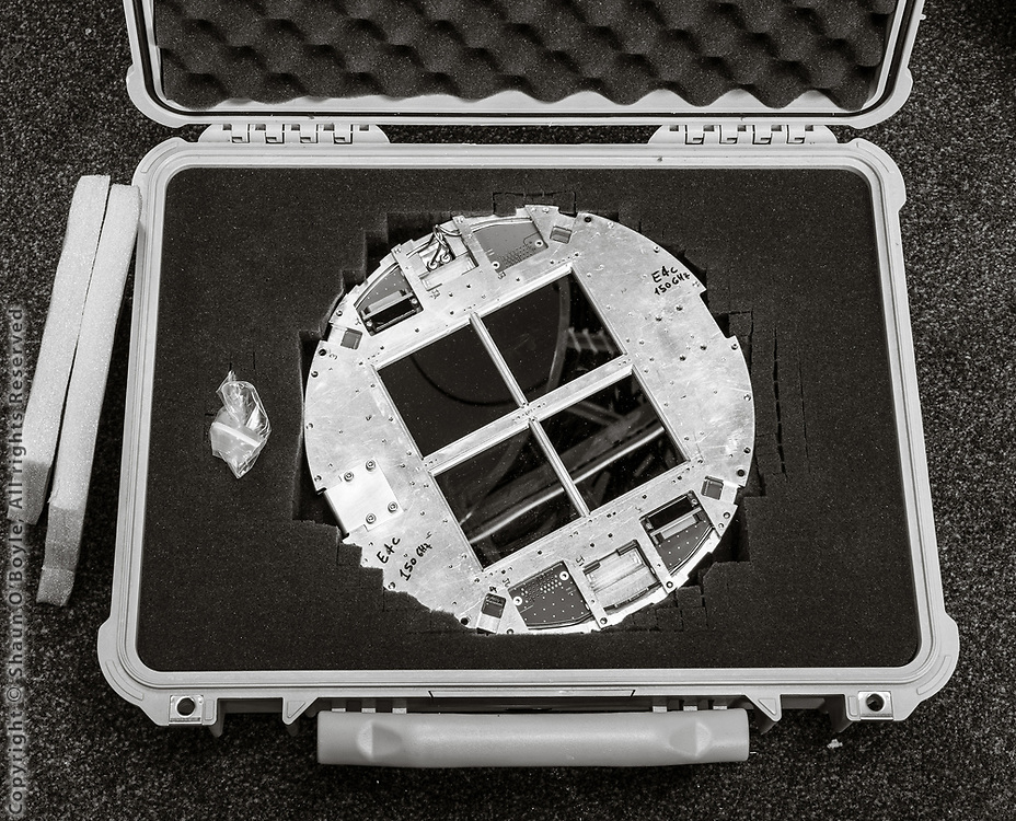 The focal plane, the telescope version of a digital sensor, of one of the Keck Array Receivers.