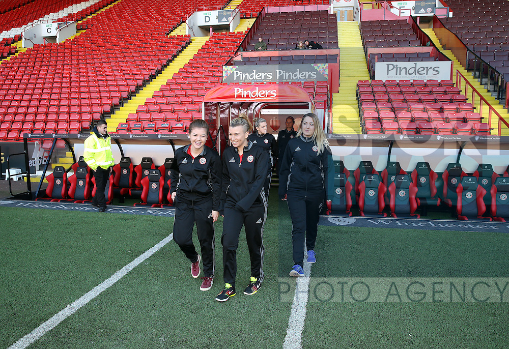 The Sheffield United Ladies team inspect the pitch prior to kick off during the FA Women's Cup First Round match at Bramall Lane Stadium, Sheffield. Picture date: December 4th, 2016. Pic Clint Hughes/Sportimage