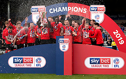 Lincoln City celebrate winning the Sky Bet Football League 2 trophy - Mandatory by-line: Jack Phillips/JMP - 04/05/2019 - FOOTBALL - Sincil Bank Stadium - Lincoln, England - Lincoln City v Colchester United - English Football League 2