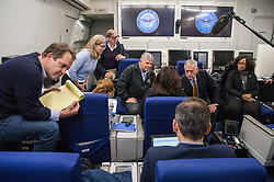 Secretary of Defense Jim Mattis speaks with the press while flying in route to Copenhagen, Denmark, May 7, 2017. (DOD photo by U.S. Air Force Staff Sgt. Jette Carr)