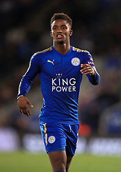 """Leicester City's Demarai Gray during the Carabao Cup, third round match at the King Power Stadium, Leicester. PRESS ASSOCIATION Photo. Picture date: Tuesday September 19, 2017. See PA story SOCCER Leicester. Photo credit should read: Mike Egerton/PA Wire. RESTRICTIONS: EDITORIAL USE ONLY No use with unauthorised audio, video, data, fixture lists, club/league logos or """"live"""" services. Online in-match use limited to 75 images, no video emulation. No use in betting, games or single club/league/player publications."""