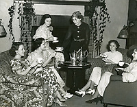 1935 Ladies gather in the living room, for coffee, at the Hollywood Studio Club on Lodi Pl.