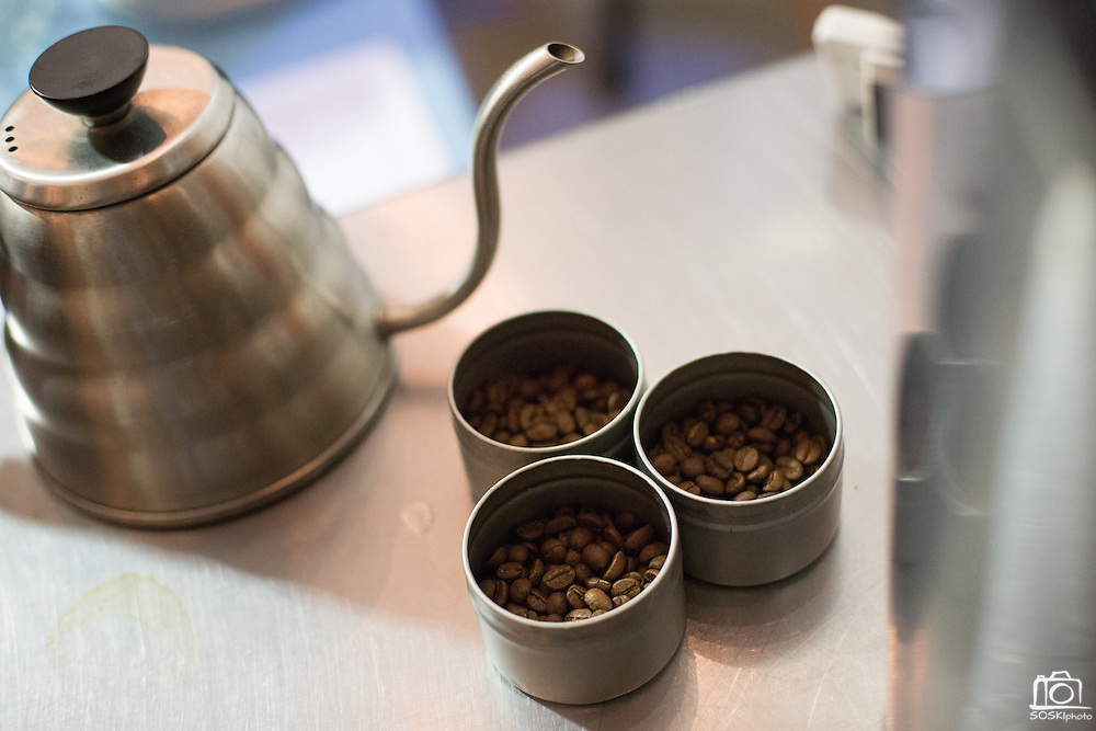 Cups of coffee beans sit on the bar during the 2nd Annual Mock Barista Competition and Brewer's Cup at San Pedro Square Market in San Jose, California, on February 21, 2013.  (Stan Olszewski/SOSKIphoto)