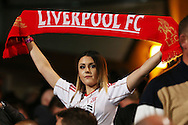 a Liverpool fan celebrates  after the final whistle. Premier League match, Crystal Palace v Liverpool at Selhurst Park in London on Saturday 29th October 2016.<br /> pic by John Patrick Fletcher, Andrew Orchard sports photography.