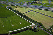 Nederland, Zuid-Holland, Hoogmade, 12-05-2009; Hoogmadensche Polder met Blauwe Molen (watermolen of poldermolen), in de achtergrond de autweg A4 en de HSL-Zuid.Swart collectie, luchtfoto (toeslag); Swart Collection, aerial photo (additional fee required).foto Siebe Swart / photo Siebe Swart