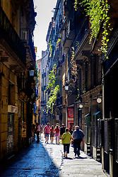 A narrow street in the Gothic Quarter of Barcelona, Catalonia, Spain<br /> <br /> (c) Andrew Wilson   Edinburgh Elite media