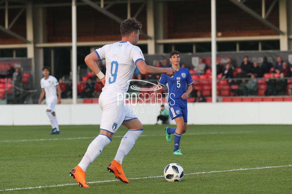 Edoardo Vergani of Italy (9) rolls the ball into the empty net during the UEFA European Under 17 Championship 2018 match between Israel and Italy at St George's Park National Football Centre, Burton-Upon-Trent, United Kingdom on 10 May 2018. Picture by Mick Haynes.