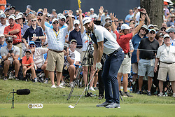 August 9, 2018 - Town And Country, Missouri, U.S - DUSTIN JOHNSON from Jupiter Florida, USA tees off on hole number 6 during round one of the 100th PGA Championship on Thursday, August 8, 2018, held at Bellerive Country Club in Town and Country, MO (Photo credit Richard Ulreich / ZUMA Press) (Credit Image: © Richard Ulreich via ZUMA Wire)