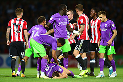 Korey Smith of Bristol City consoles Josh Brownhill - Mandatory by-line: Dougie Allward/JMP - 15/08/2017 - FOOTBALL - Griffin Park - Brentford, England - Brentford v Bristol City - Sky Bet Championship