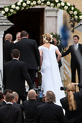 16.04.2011, Going am Wilden Kaiser, Tirol, AUT, kirchliche Trauung von Maria Riesch und Markus Höfl in der Pfarrkirche zum Hl. Kreuz, im Bild ankunft der Braut Maria Riesch vor der Pfarrkirche zum Hl. Kreuz // arrival bride Maria Riesch during church wedding at Church of the Holy Cross in Going, Austria on 16/4/2011. EXPA Pictures © 2011, PhotoCredit: EXPA/ J. Groder / SPORTIDA PHOTO AGENCY