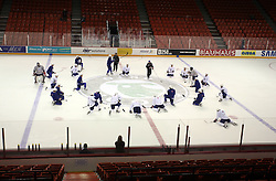 Hockey players at morning practice of Slovenian national team before match against Canada at Hockey IIHF WC 2008 in Halifax,  on May 02, 2008 in Metro Center, Halifax, Canada.  (Photo by Vid Ponikvar / Sportal Images)