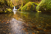 One of Eagle Creek's many scenic stops in the Columbia River Gorge, Punchbowl Falls.