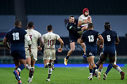 Akaki Tabutsadze of Georgia and Jonny May of England compete for the ball in the air - Mandatory byline: Patrick Khachfe/JMP - 07966 386802 - 14/11/2020 - RUGBY UNION - Twickenham Stadium - London, England - England v Georgia - Autumn Nations Cup