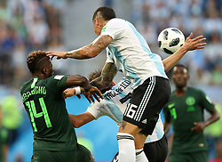 SAINT PETERSBURG, June 26, 2018  Kelechi Iheanacho (L) of Nigeria vies with Marcos Rojo (top) of Argentina during the 2018 FIFA World Cup Group D match between Nigeria and Argentina in Saint Petersburg, Russia, June 26, 2018. (Credit Image: © Yang Lei/Xinhua via ZUMA Wire)