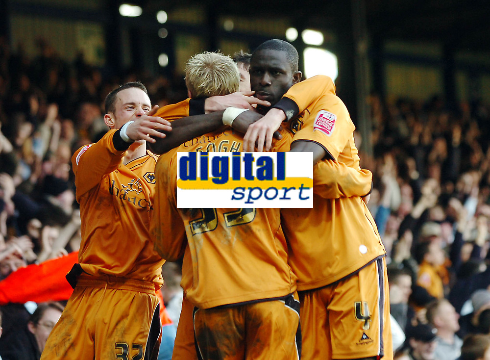 Photo: Kevin Poolman.<br />Luton Town v Wolverhampton Wanderers. Coca Cola Championship. 03/03/2007. Wolves players celebrate their 2nd goal.