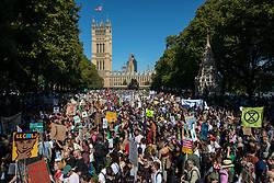 © Licensed to London News Pictures. 20/09/2019. London, UK. Tens of thousands of students and supporters join the Global Climate Strike in Westminster. Protests about the climate crisis are being led by young people in cities around the world, with millions expected to attend. Photo credit: Rob Pinney/LNP
