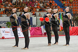 July 28, 2018 - Chieti, Abruzzo, Italy - Rhythmic gymnastics team of Ukraine performs its 3 ball 2 ropes routine during the Rhythmic Gymnastics pre World Championship Italy-Ukraine-Germany at Palatricalle on 29th of July 2018 in Chieti Italy. (Credit Image: © Franco Romano/NurPhoto via ZUMA Press)