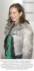 MISS JADE JAGGER daughter of Mick Jagger at a party in London on 11th April 2002.OYW 76