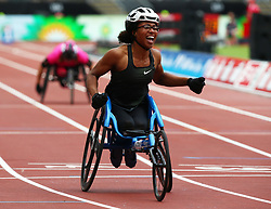 July 22, 2018 - London, United Kingdom - Kare Adenegan of  Great Britain and Northern Ireland celebrates after winning and World Record during T34 100m Women during the Muller Anniversary Games IAAF Diamond League Day Two at The London Stadium on July 22, 2018 in London, England. (Credit Image: © Action Foto Sport/NurPhoto via ZUMA Press)