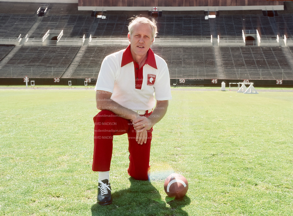 PALO ALTO, CA -  MARCH 1977:  Head coach Bill Walsh of Stanford University poses on the field at Stanford Stadium during March 1977 in Palo Alto, California.  (Photo by David Madison/Getty Images)