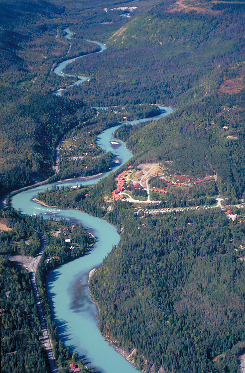 Alaska . Kenai Peninsula . Aerial view of Kenai River and Cooper Landing