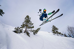 Man jumping with ski, Bavaria, Germany