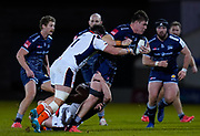 Sale Sharks flanker Cobus Wiese breaks a tackle during the European Champions Cup match Sale Sharks -V- Edinburgh Rugby at The AJ Bell Stadium, Greater Manchester,England United Kingdom, Saturday, December 19, 2020. (Steve Flynn/Image of Sport)