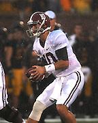 Alabama Crimson Tide quarterback AJ McCarron (10). The Alabama Crimson Tide defeated the Missouri Tigers 42-10 at Memorial Stadium in Columbia, Missouri on October 13, 2012.