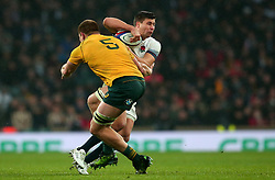 Ben Youngs of England is tackled by Blake Enever of Australia - Mandatory by-line: Robbie Stephenson/JMP - 18/11/2017 - RUGBY - Twickenham Stadium - London, England - England v Australia - Old Mutual Wealth Series