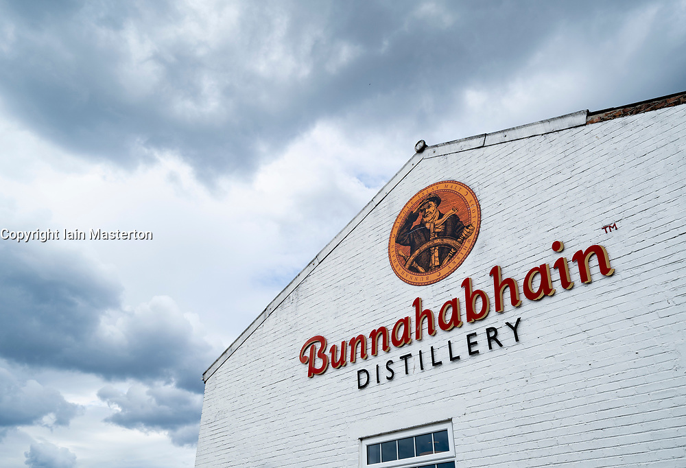 View of Bunnahabhain Distillery on island of Islay in Inner Hebrides of Scotland, UK