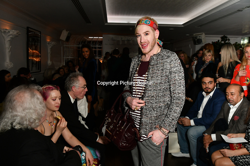 Lewis-Duncan weedon attend Nina Naustdal catwalk show SS19/20 collection by The London School of Beauty & Make-up at Bagatelle on 26 Feb 2019, London, UK.