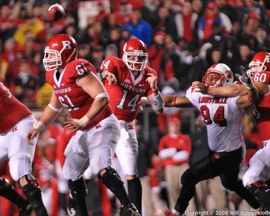 Dec. 4, 2008; Piscataway, NJ, USA - Rutgers quarterback Mike Teel throws a pass during the second quarter of Rutgers' 63-14 victory over Louisville at Rutgers Stadium.