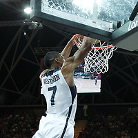 02 August 2012: USA Russell Westbrooks dunks during 156-73 Team USA victory over Team Nigeria, during the men's basketball preliminary, at the Basketball Arena, in London, Great Britain.