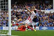 Ryan Shawcross of Stoke City clears from Romelu Lukaku of Everton as the Everton striker almost scores. Premier league match, Everton v Stoke city at Goodison Park in Liverpool, Merseyside on Saturday 27th August 2016.<br /> pic by Chris Stading, Andrew Orchard sports photography.