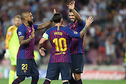 September 18, 2018 - Barcelona, Catalonia, Spain - Lionel Messi of FC Barcelona celebrates with Luis Suarez and Arturo Vidal after scoring his side's fourth goal during the UEFA Champions League, Group B football match between FC Barcelona and PSV Eindhoven on September 18, 2018 at Camp Nou stadium in Barcelona, Spain (Credit Image: © Manuel Blondeau via ZUMA Wire)