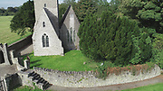 St Doochals Ch Kinsealy Aerial Photos 16-9-20, St, Doulagh's Church, Clochar Naomh Dúiligh, St Doolaghs Ch, one of the oldest churches in Ireland to survive with its rare high pitch stone roof. With Adjacent holy well
