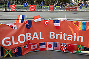 Pro Brexit protest and placards calling for a global Britain in Westminster on 2nd October 2019 in London, England, United Kingdom.