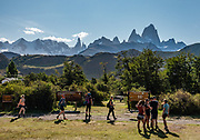 "Cerro Fitz Roy (3405 m or 11,171 ft elevation), seen from the Los Glaciares National Park Visitor Center in El Chalten, Santa Cruz Province, Argentina, Patagonia, South America. Monte Fitz Roy is also known as Cerro Chaltén, Cerro Fitz Roy, or Mount Fitz Roy. The first Europeans recorded as seeing Cerro Fitz Roy were the Spanish explorer Antonio de Viedma and his companions, who in 1783 reached the shores of Viedma Lake. In 1877, Argentine explorer Francisco Moreno saw the mountain and named it Fitz Roy in honour of Robert FitzRoy who, as captain of HMS Beagle, had travelled up the Santa Cruz River in 1834 and charted large parts of the Patagonian coast. Mt Fitz Roy was first climbed in 1952. Cerro is a Spanish word meaning hill, while Chaltén comes from a Tehuelche word meaning ""smoking mountain"", due to clouds that usually form around the peak.  Los Glaciares National Park and Reserve are honored on UNESCO's World Heritage List."
