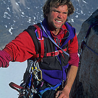 Alex Lowe reaches the summit plateau of Great Sail Peak after a six-week rock climb north of the Arctic Circle on Canada's Baffin Island.