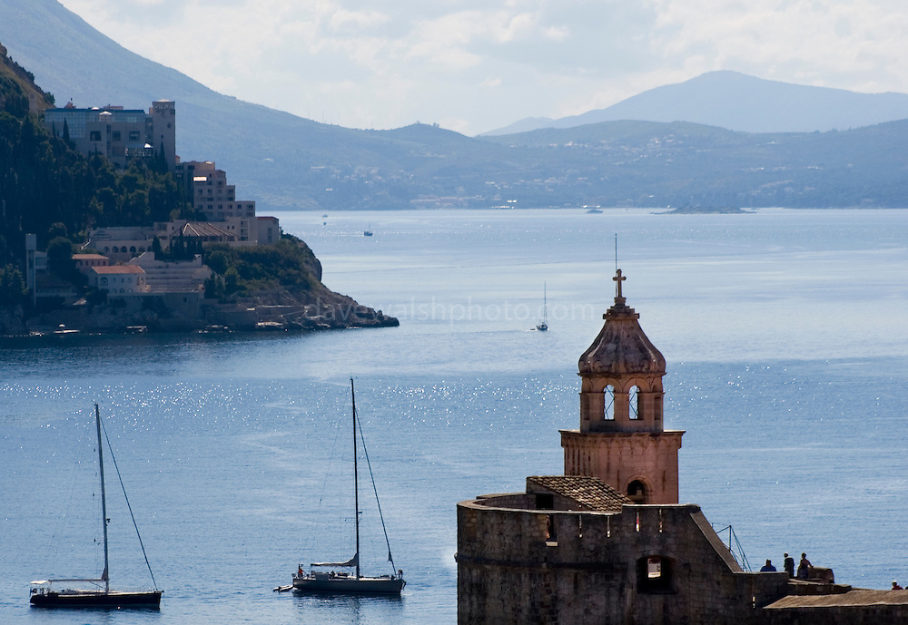 Tower in Dubrovnik, Croatia, with yachts and the Adriatic Sea