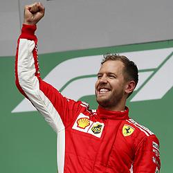 June 10, 2018 - Montreal, Canada - Scuderia Ferrari driver SEBASTIAN VETTEL celebrates on the podium after winning the Formula One Grand Prix of Canada. (Credit Image: © Hoch Zwei via ZUMA Wire)