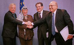 BRUSSELS, BELGIUM - MAY 31, 2001 - FROM LEFT TO RIGHT - Chris Patten, External Relations Commission for the European Union, Yasser Arafat, leader of the PLO, Romano Prodi, President of the European Commission and Nabeel Shaath, Minister of Planning and International Cooperation for the Palestian National Authority, at  the European Commission, in Brussels, Thursday. (PHOTO © JOCK FISTICK)