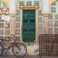 A colorful doorway seen in the Manek Chawk area of Ahmedabad, Gujarat, India.